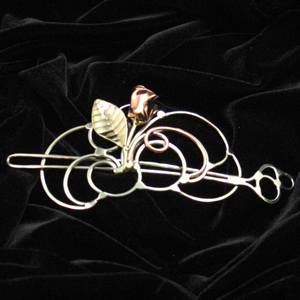 Hand Made Nickel Silver Hairsweep with a Brass Rose by Bill & Debbie Jezzard.  Jezzard Jewelry